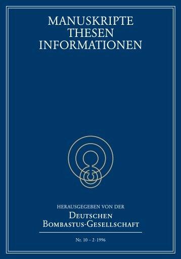 MANUSKRIPTE THESEN INFORMATIONEN - bei Bombastus-Ges.de