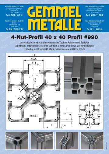 4-Nut-Profil 40 x 40 Profil #990 - Gemmel Metalle