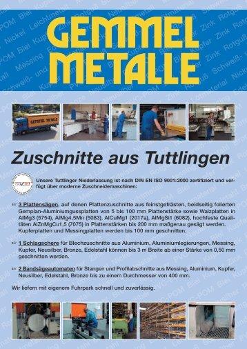 Zuschnitte aus Tuttlingen - Gemmel Metalle