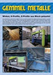Winkel, U-Profile, Z-Profile aus Blech gekantet - Gemmel Metalle