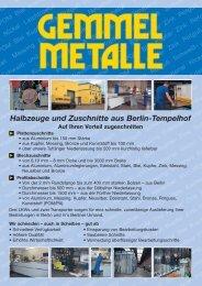 Halbzeuge und Zuschnitte aus Berlin-Tempelhof - Gemmel Metalle