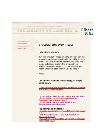 E-Newsletter of the LVBIA for July - Liberty Village BIA
