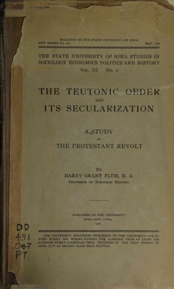 the teutonic order its secularization - Institutional Repositories