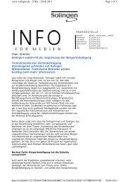Pressemitteilung der Stadt Solingen - Zebralog