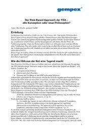 Der Risk-Based Approach der FDA – alte ... - gempex GmbH