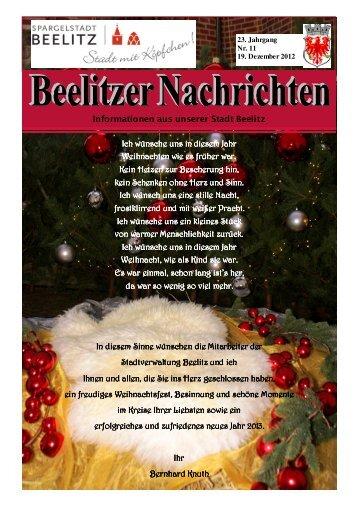 Informationen aus unserer Stadt Beelitz Ich wünsche uns in diesem ...