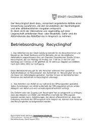 BETRIEBSORDNUNG, Recyclinghof Stadt Salzburg, Stand August ...