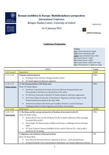Conference Programme - Refugee Studies Centre - University of ...