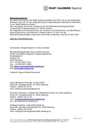 TeilnehmerInnen Behindertenbeirat 1 - Stadt Salzburg