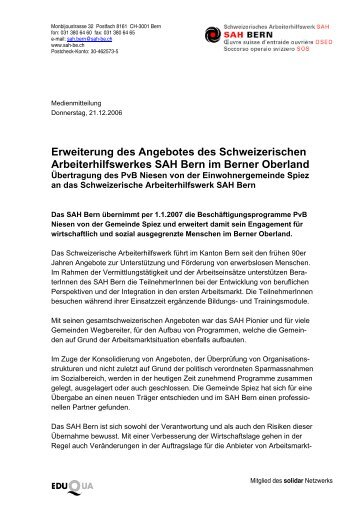 SAH Bern erweitert sein Angebot - Schweizerisches Arbeiterhilfswerk