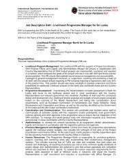 Job Description SAH - Livelihood Programme Manager for Sri Lanka