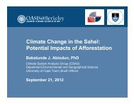 Climate Change in the Sahel: Potential Impacts of Afforestation