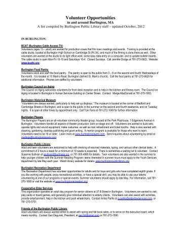 Volunteer Opportunities - Town of Burlington