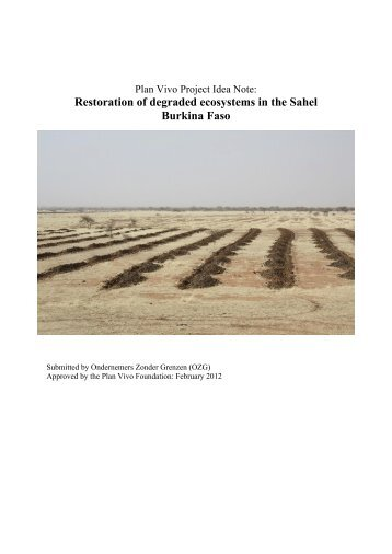 Restoration of degraded ecosystems in the Sahel ... - Plan Vivo