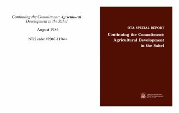 Continuing the Commitment: Agricultural Development in the Sahel