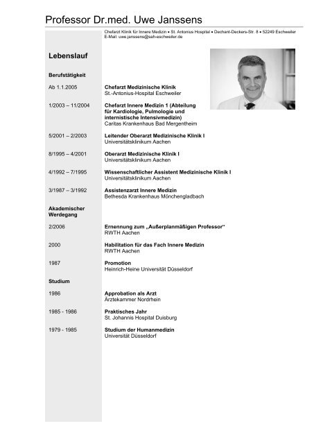 Professor Dr.med. Uwe Janssens - Deutsche Interdisziplinäre ...