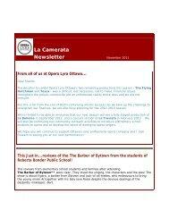La Camerata Newsletter - Opera Lyra Ottawa