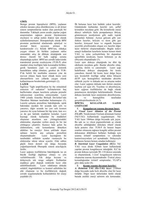 Laser Applications for Benign Prostate Hyperplasia - Konuralp Tip ...