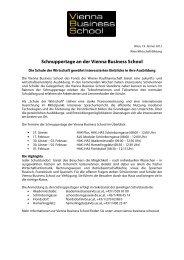 Schnuppertage an der Vienna Business School