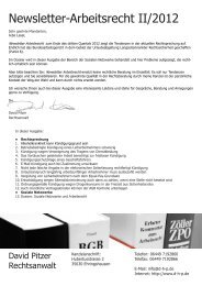 Newsletter-Arbeitsrecht II/2012 - David Pitzer Rechtsanwalt