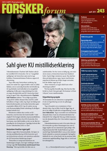 Sahl giver KU mistillidserklæring - FORSKERforum