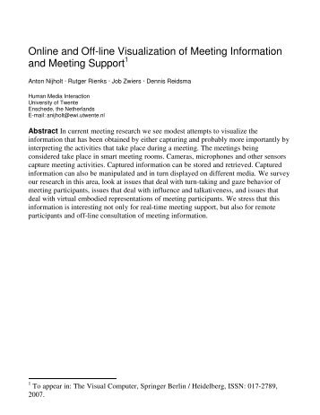 Online and Off-line Visualization of Meeting Information and Meeting ...