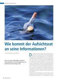 Wie kommt der Aufsichtsrat an seine Informationen? - BWGV