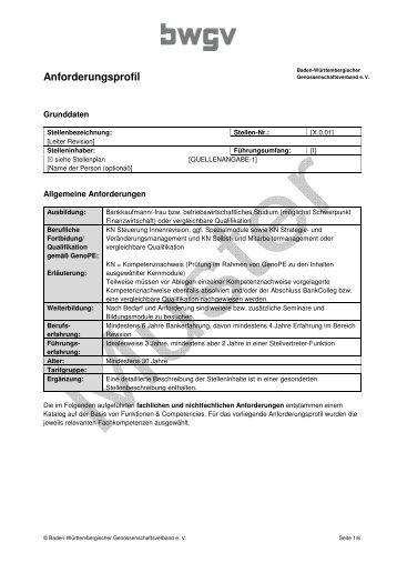 Anforderungsprofil - BWGV