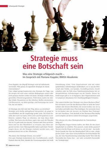 Strategie muss eine Botschaft sein - BWGV