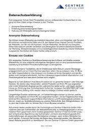 Datenschutzerklärung - bei der Gentner IT-Service GmbH