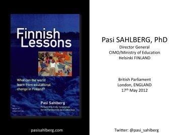 Pasi SAHLBERG, PhD - The Policy Consortium