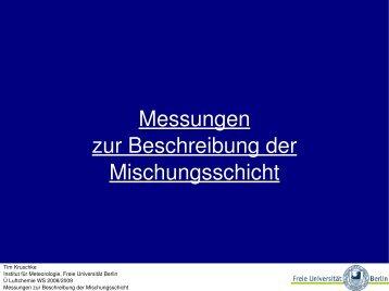 Messungen zur Beschreibung der Mischungsschicht - Freie ...
