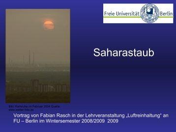 Saharastaub - Einfluss auf die PM10 Konzentrationen in Europa