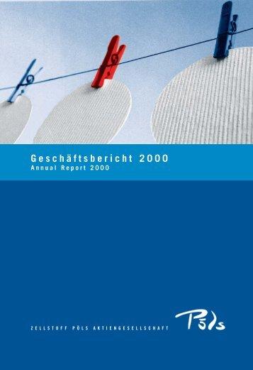 Der Jahresabschluss 2000. - Zellstoff Pöls AG