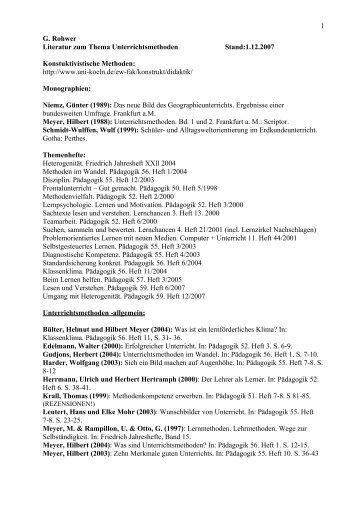 WS 2006/07 S 24 601 Unterrichtsmethoden im Erdkundeunterricht