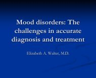 Mood disorders: bipolar disorders and difficult to treat depressions