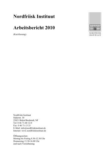 Nordfriisk Instituut Arbeitsbericht 2010