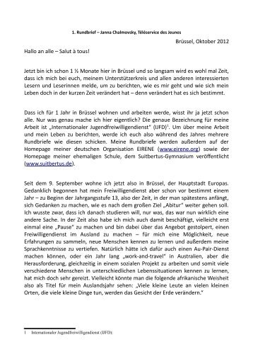 Rundbrief 1 Janna - Suitbertus Gymnasium