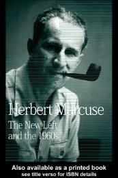 The New Left and the 1960s: Herbert Marcuse, Collected Papers of ...