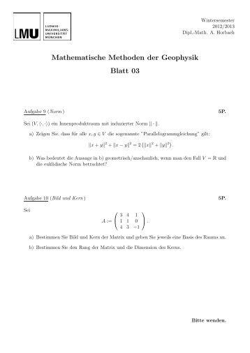 Mathematische Methoden der Geophysik Blatt 03