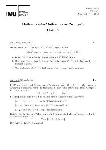 Mathematische Methoden der Geophysik Blatt 02