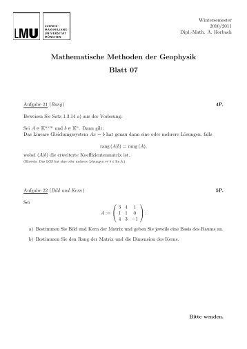 Mathematische Methoden der Geophysik Blatt 07