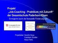 "Projekt ""Job-Coaching - Praktikum mit Zukunft"" der Gesamtschule ..."