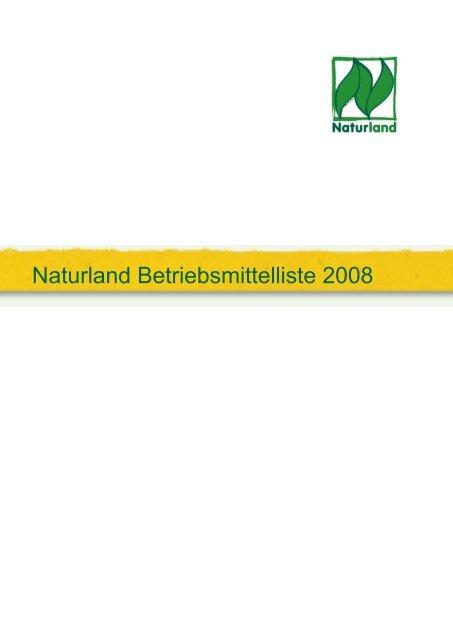 Naturland Betriebsmittelliste 2008 - Agrar Komplex