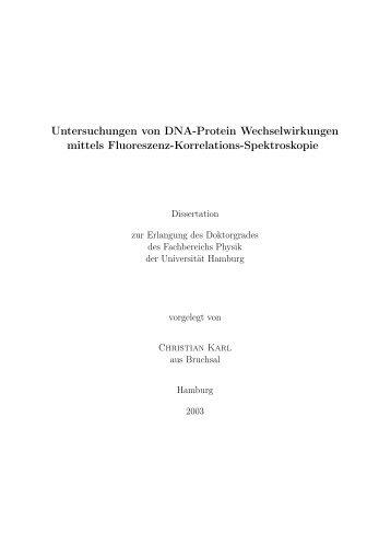 Untersuchungen von DNA-Protein Wechselwirkungen mittels ...