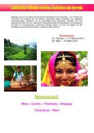 Wien – Cochin – Thekkady – Alleppey Trivandrum