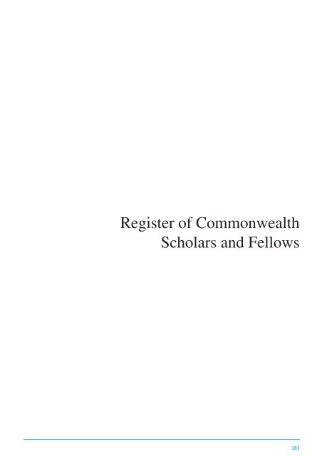 Register Of Commonwealth Scholars And Fellows