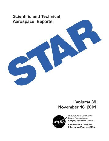 Scientific and Technical Aerospace Reports Volume 39 November ...