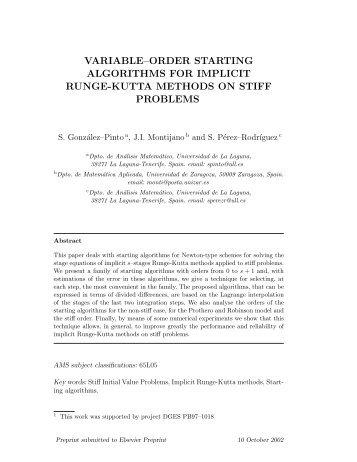 variable–order starting algorithms for implicit runge-kutta methods ...