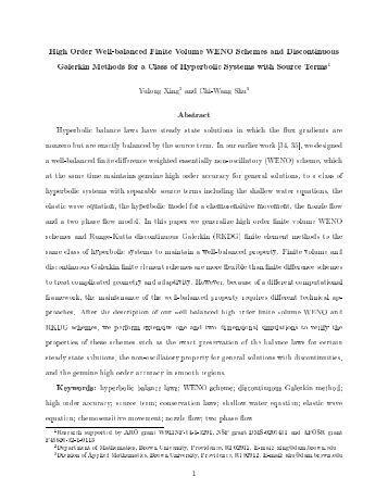 High Order Well-balanced Finite Volume WENO Schemes and ...